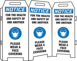 OSHA Notice 3-Side Fold-Ups Safety Sign, For The Health And Safety Of One Another Please Wear A Face Covering, Each