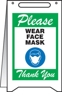 "Fold-Ups Safety Sign, Please Wear Face Mask Thank You, 20"" X 12"", Green"