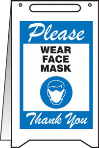 "Fold-Ups Safety Sign, Please Wear Face Mask Thank You, 20"" X 12"", Blue"
