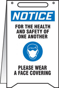 """OSHA Notice Fold-Ups Safety Sign, For The Health And Safety Of One Another Please Wear A Face Covering, 20"""" X 12"""", Each"""