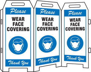 3-Side Fold-Ups Safety Sign, Please Wear Face Covering Thank you, Blue
