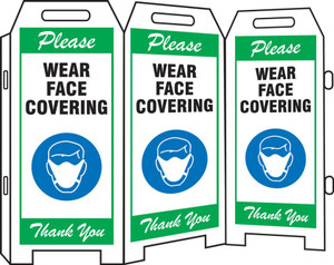 3-Side Fold-Ups Safety Sign, Please Wear Face Covering Thank you, Green