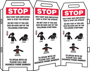 3-Side Fold-Ups Safety Sign, Stop Help Keep Our Employees Safe & Stop The Spread Do Not Visit If You Are Sick Or Have Any Of The Following, Each