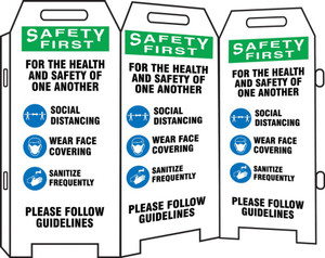 OSHA Safety First 3-Side Fold-Ups Sign, For The Health And Safety of One Another Please Follow Guidelines Social Distancing Wear Face, Each