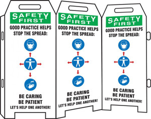 OSHA Safety First 3-Side Fold-Ups Sign, Good Practice Helps Stop The Spread Be Caring Be Patient Let's Help One Another!, Each