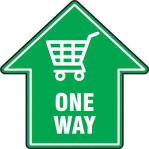 """COVID-19 Floor Stickers, Foot Traffic Markers, One Way Shopping Cart, Arrow Shape, Green, 17"""", Each"""