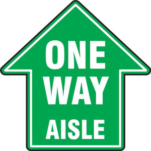 "COVID-19 Floor Stickers, Foot Traffic Markers, One Way Aisle In Arrow Shape, Green, 17"", Each"