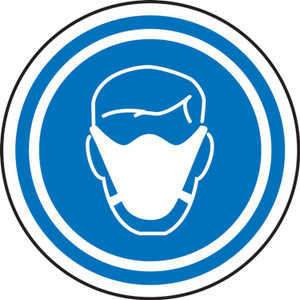 """COVID-19 Safety Stickers, Face Mask Symbol, 6"""", 5/PK"""