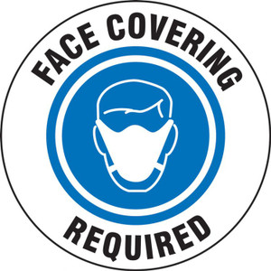 "COVID-19 Door Stickers: Face Covering Required, 6"", 5/PK"