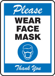 Safety Sign: Please Wear Face Mask Thank You, Blue, Each