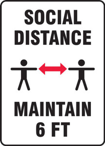 Safety Sign, Social Distance Maintain 6 FT, Two Person, Each