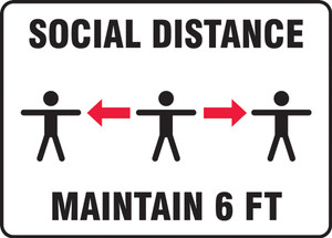 Safety Sign, Social Distance Maintain 6 FT Three Person Image, Each