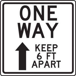 """COVID-19 Floor Stickers, Foot Traffic Markers, One Way Keep 6 FT Apart With Up Arrow, 17"""", Each"""