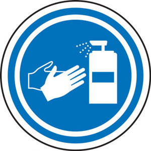 """COVID-19 Safety Stickers, Sanitize Hands Symbol, 6"""", 5/PK"""