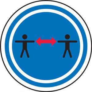 """COVID-19 Safety Stickers, Social Distance Symbol, 6"""", 5/PK"""