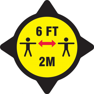 Safety Label, Stay 6 Feet Apart, Black and Yellow, Adhesive Vinyl Stickers, 5/PK