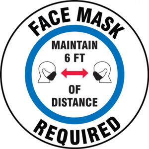 Slip-Gard Floor Sign, Face Mask Required Maintain 6 FT Of Distance, Each