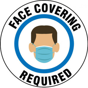 Safety Label, Face Covering Required, Adhesive Vinyl, 5/PK