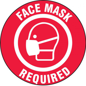 Safety Label, Face Mask Required, Adhesive Vinyl, 5/PK