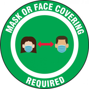 Safety Label, Mask Or Face Covering Required Two Person, Adhesive Vinyl, 5/PK