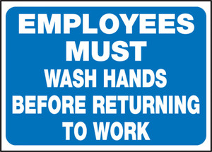 "Safety Label: Employees Must Wash Hands Before Returning to Work, 3 1/2"" x 5"", Adhesive Vinyl, 5/Pack"