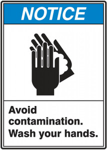 "ANSI Notice Safety Label, Avoid Contamination - Wash Your Hands, 5"" x 3 1/2"", Adhesive Vinyl, 5/Pack"