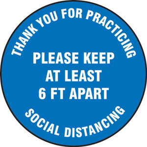 "COVID-19 Floor Sticker, 6' Social Distancing In English, 17"" Round, Choose Color"