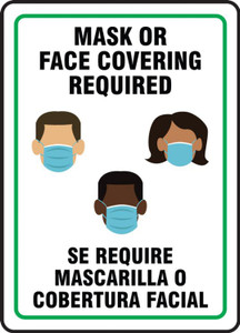 Safety Sign, Mask Or Face Covering Required, Bilingual - Spanish/English, Each