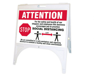 Quik Sign Fold-Ups, Attention For The Safety and Health of Our Shoppers and Employees This Business Encourages You To Practice Social Distancing, KT