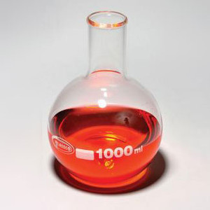 Flat Bottom Boiling Flasks, Borosilicate Glass, 1000mL, case/6