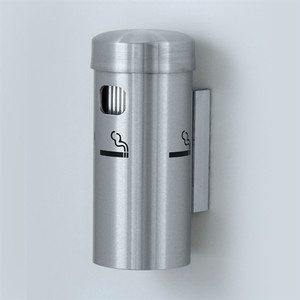 "Deluxe Cigarette Smokers Post, 3.5"" x 8"" Wall Mount, Satin Aluminum"