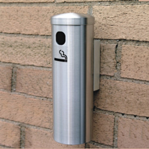 "Deluxe Cigarette Smokers Post, 3.5"" x 12"" Wall Mount, Satin Aluminum"