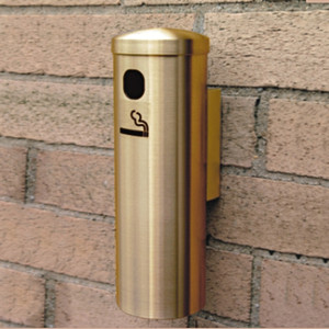 "Deluxe Cigarette Smokers Post, 3.5"" x 24"" Wall Mount, Satin Brass"