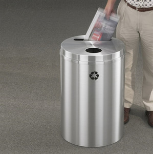 Dual Purpose Recycle Bins, RecyclePro (Paper, Bottle, Cans) 33 gal Satin Aluminum