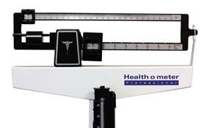 "Mechanical Beam Scale, Height Rod, Wheels, 400 lb Capacity, 10-1/2"" x 14"" x 3-1/4"" Platform Dimension"