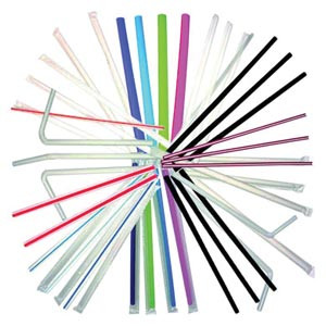"White Flex Jumbo Straws, 7-3/4"", Wrapped, 400 per sleeve, 25sleeves per case"