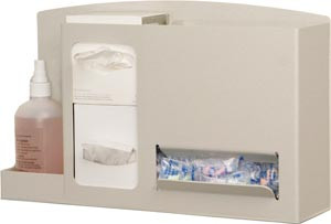 "Eye & Ear Safety Station Holds Two Small boxes of Eye Cleaning Wipes, One Bottle of Lens Cleaning Solution & Ear Plugs in Bulk Quantity, Keyholes For Wall Mounting, Can Sit On Counter or Mount to a Floor Stand, Quartz ABS Plastic, 18""W x 10 7/8""H x 5 3/8""D"