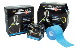"""Kinesiology Tape, Standard Continuous Roll, Dispenser box, 2"""" x 16.4ft, Blue/ Blue Print, Latex-Free, 24 per case"""