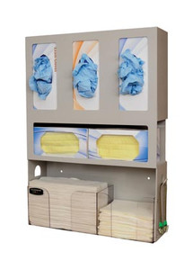 """Dental Organizer, Holds Three boxes of Gloves, Two boxes of Face Masks, Quarter Fold Towels & Patient Bibs, Tabs on Both Sides of Unit to Hang Patient Bib Clips, Keyholes For Wall Mounting, Quartz ABS & Clear PETG Plastic, 17 5/8""""W x 23-1/2""""H x 5-1/16""""D"""