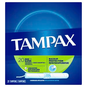 Tampax Super Absorbency Tampons, Unscented, 20 per box, 24 boxes per case
