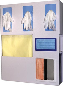 """Protection Organizer, Holds Flat pack or Launderable Gowns, Three boxes of Gloves, One box of Face Masks & One box of Face Shields, Keyholes For Wall Mounting, Door Hanger Cut-Out, Quartz ABS Plastic, 20-1/16""""W x 25-1/4""""H x 4-3/4""""D"""