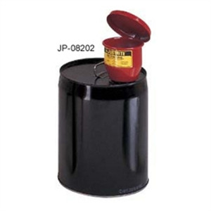 "Justrite® Metal Funnel for 5 gal pails, manual lid & 1"" flame arrester"