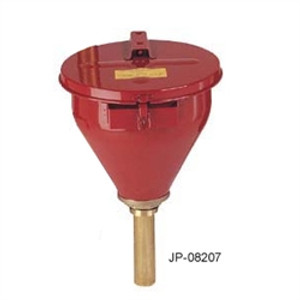 "Justrite® Large Metal Drum Funnel, Self-Closing lid, 6"" flame arrester"