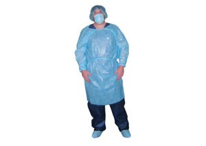 Isolation Gown, Impervious, Blue, 10 per bag, 5 bags per case