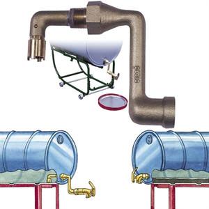 Justrite 08308 Brass Drum Siphon Adapter & Self-Closing Faucet