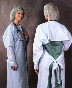 Embossed Polyethylene Gown, Thumbhook Stirrups, Individually Wrapped, Blue, 75 per case