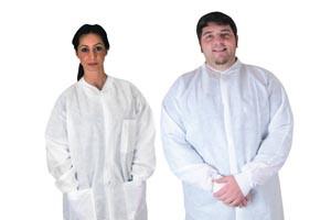 Pocket Lab Coat, Large, White, 35gm SMS, Non-Sterile, 10 per bag, 5 bags per case