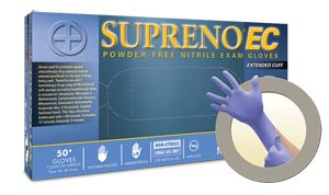 Exam Gloves, Nitrile Extended Cuff, PF, Latex-Free, Textured Fingers, Blue, XXX-Large, 40 per box; 10 boxes per case