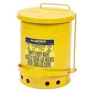Justrite® 6 gal Oily Waste Can, Foot Operated Lever Cover