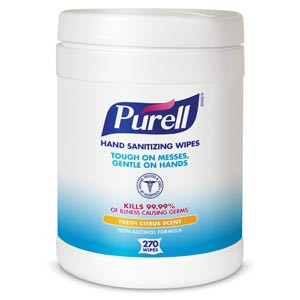 "Durable Textured Wipes For Superior Cleaning, Non Linting, 270 ct Popup canister, Wiper Size 6"" x 6-3/4"", Tested & Approved For Hands, Not Approved For Use as a Surface Disinfectant, 6can per case"